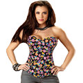 Corset And Bustier Women Floral Denim Slim Overbust Butterfly Print Jeans Victorian Sexy Trainer Corset Lingerie Body Shaper