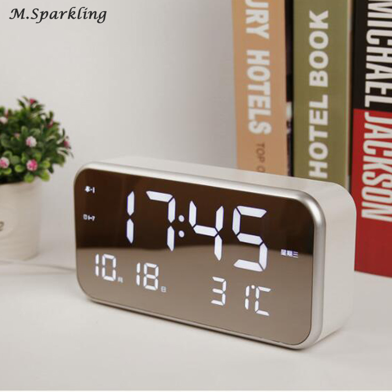 LCD Digital Alarm Clocks with Snooze Time Table Alarm Clock with Temperature Calendar Backlight Electronic Desktop Clock