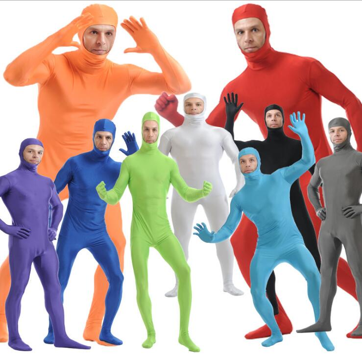 2019 Adult Full Body Zentai Suit Custome For Halloween Men Second Skin Tight Suits Spandex Nylon Bodysuit Cosplay Costumes