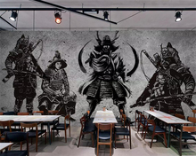 Beibehang Wallpaper vintage hand-painted Japanese Samurai cement wall restaurant mural tooling murals 3d wallpaper