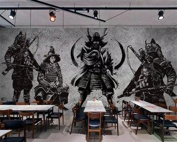 Beibehang Wallpaper vintage hand-painted Japanese Samurai cement wall restaurant mural tooling murals 3d wallpaper