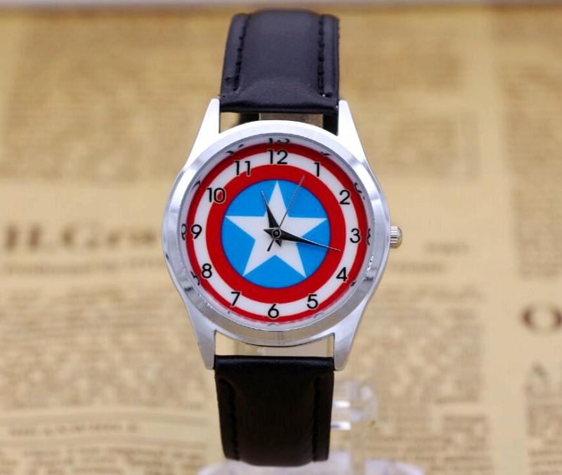 Captain America  Watch Fashion Watches Quartz Children Kids Clock Boys Girls Students Wristwatch