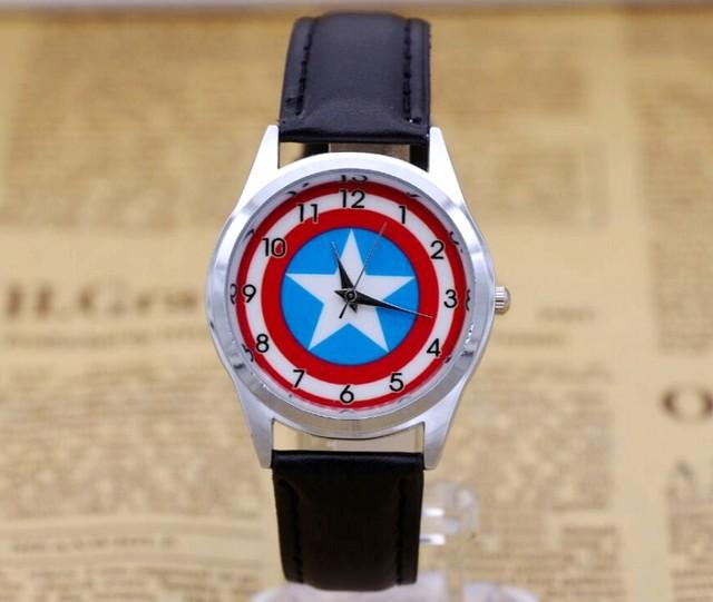 Captain America Watch Fashion Watches Quartz children Kids Clock boys girls Stud