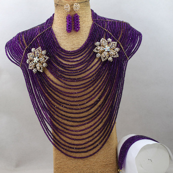Luxury 30 Layers African Women Jewelry Set Nigerian Wedding Bridal Beads Jewelry Set Floral Necklace Set Free shipping QW363