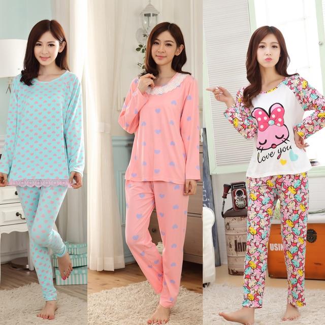 80ebff1ea8 LOW Price Spring   Autumn Lovely Pajamas Women Long Sleeve Carton Girl  Pyjama Milk Silk Women Sleepwear Leisure Ladies Nightwear