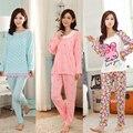 Precio BAJO Caja Chica Encantadora Pijamas de Manga Larga de Las Mujeres de Primavera y Otoño Pijama de Seda de la Leche de Las Mujeres ropa de Dormir de Ocio de Las Señoras Ropa de Dormir