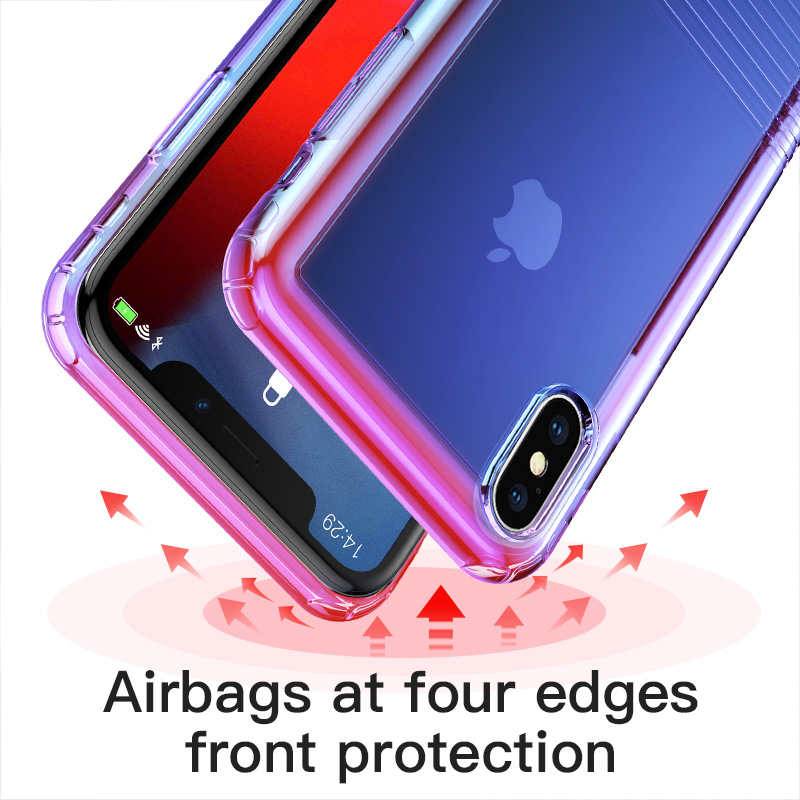 IPhone Xs Max XR üçün əsas Base Gradient Yumşaq silikon - Cib telefonu aksesuarları və hissələri - Fotoqrafiya 3