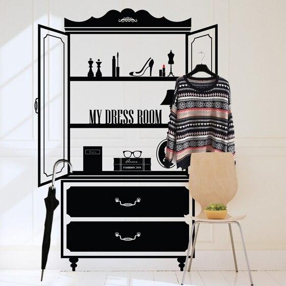 Immense coiffeuse vinyle mur décalcomanie vêtements boutique cosmétiques boutique maquillage chambre Mural autocollant chambre décorative décoration