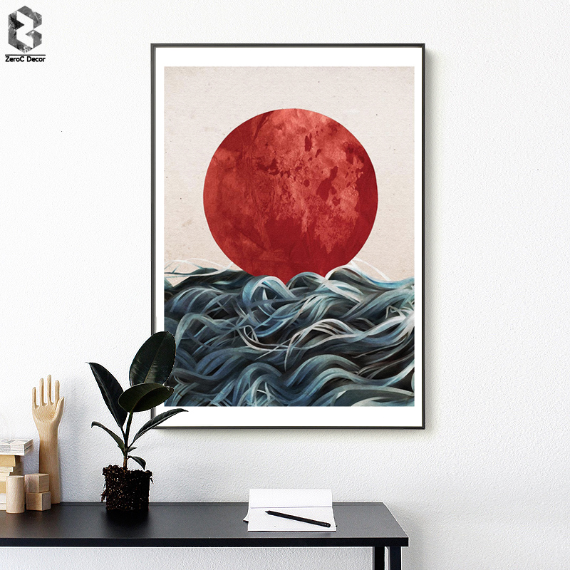 Abstract Japanese Sunrise Posters And Prints Wall Art Canvas Painting Pictures For Living Room Scandinavian Seascape Home Decor