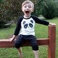 Детские Мальчики Девочки Футболка Марка Топ Тис Высокое качество Махровые Дети Хлопка С Длинным Рукавом футболка Panda Мальчиков Детской Одежды
