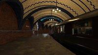 Film Alten U-bahn Station Zug Unterirdischen Eisenbahn kronleuchter hintergrund Computer print kinder kinder hintergrund