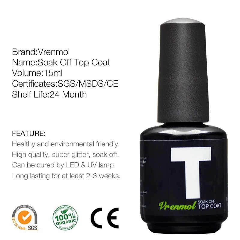 Vrenmol לא לנגב הדף אותה + בסיס מעיל העליון לק UV לק ג 'ל ללא ניקוי למעלה מעיל יסוד פריימר מעיל בסיס