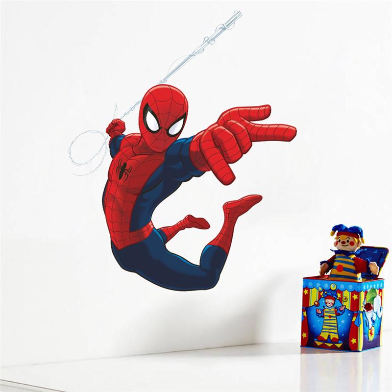 HTB1lKICLXXXXXbKXpXXq6xXFXXX5 - Hero Spiderman wall stickers for kids rooms decals home decor Kids Nursery 3D Wall sticker decoration for Boy christmas gift