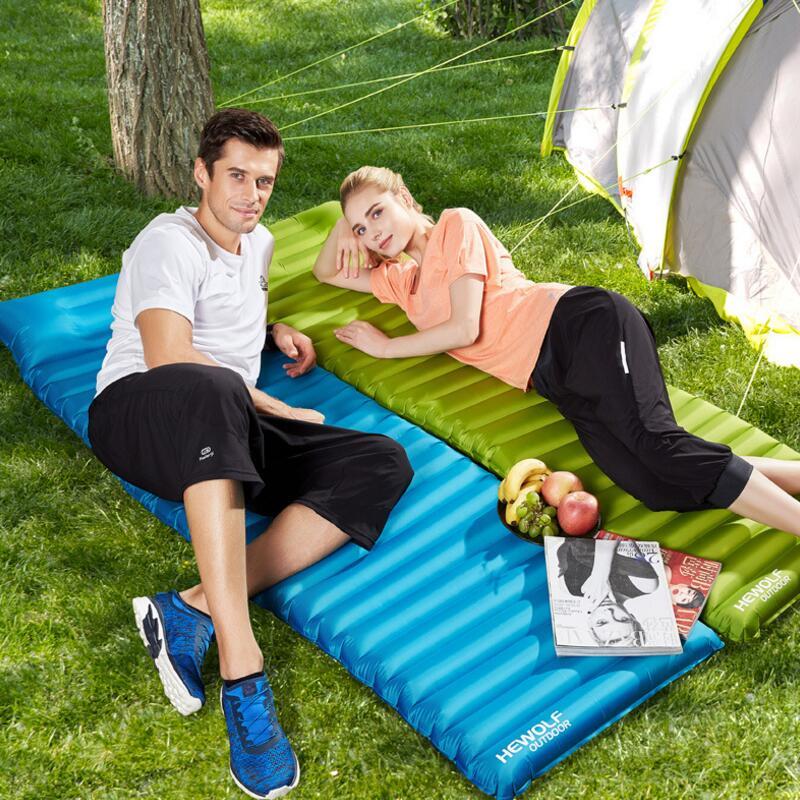 Hewolf Thick 8 5cm Camping Air Mat Ultralight Inflatable Mattress Outdoor Picnic Beach Mat Airbed Portable Sleeping Mattress in Camping Mat from Sports Entertainment
