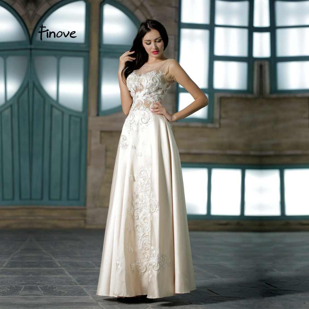 d39c44d504 Finove Fairy White Prom Dress 2019 New Design Simple See-Through Embroidery  Lace Beading Ball Grown For Prom Women' Dress