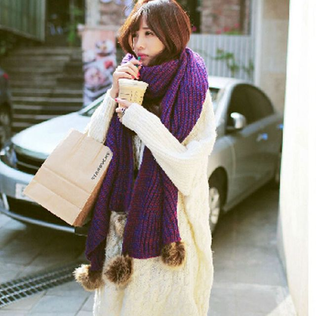 YI LIAN Brand 2016 6Colors Women Fall Winter Warm Scarf Fashion Knitted Wool Long Scarf With Rabbit Fur M708