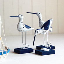 Mediterranean bird ornaments hand-painted decoration woodcarving and log crack marine style set of three birds