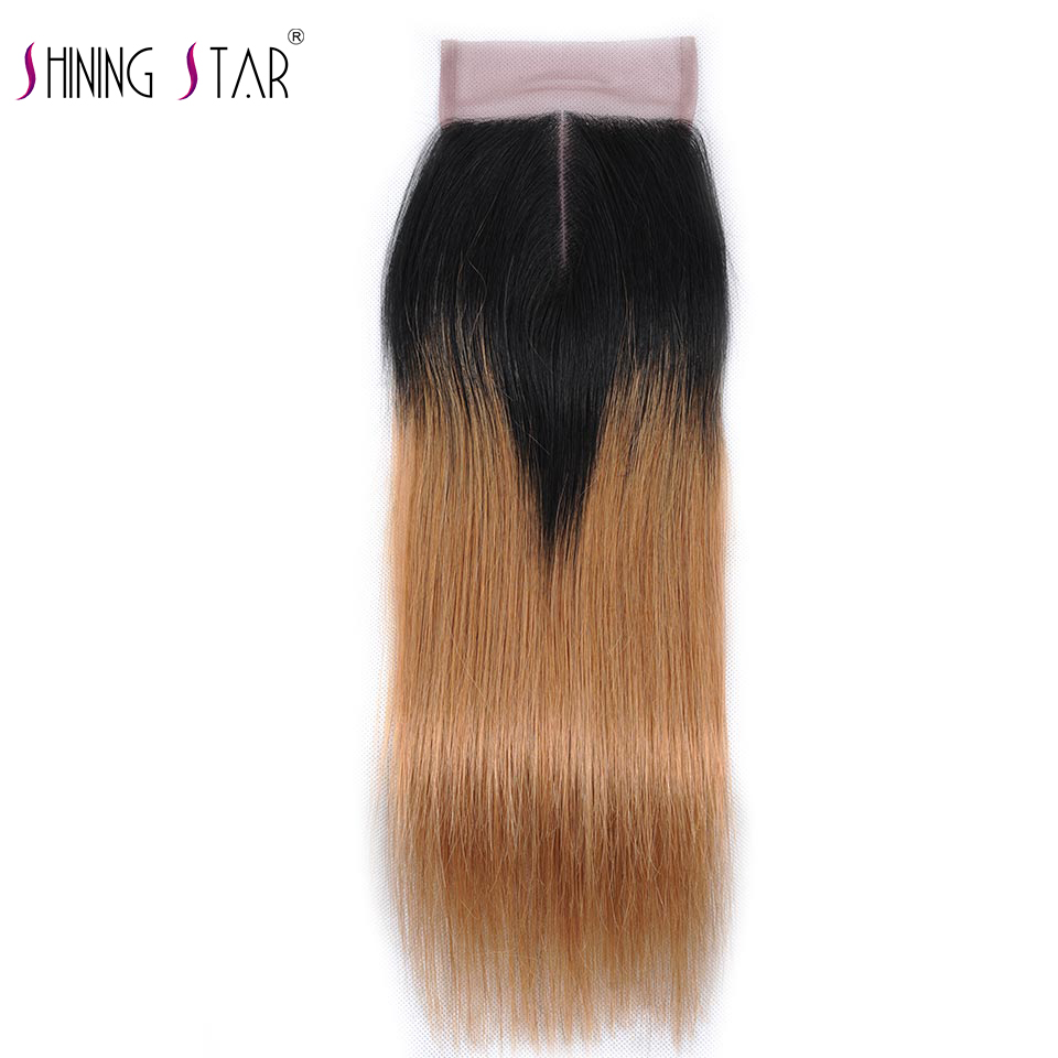T1b 27 Blonde Ombre Brazilian Straight Hair Lace Closure Middle Part Human Hair Closure Bleached Knots