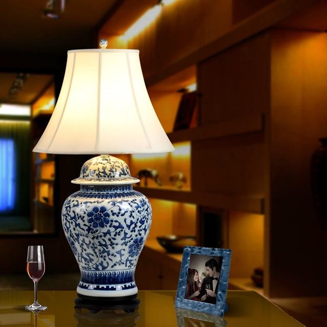 Vintage Chinese Bedroom Living Room Wedding Table Lamp Jingdezhen