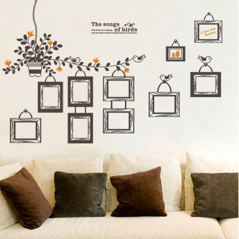 Photo Wall Frame stickers living room sofa background transparent ...