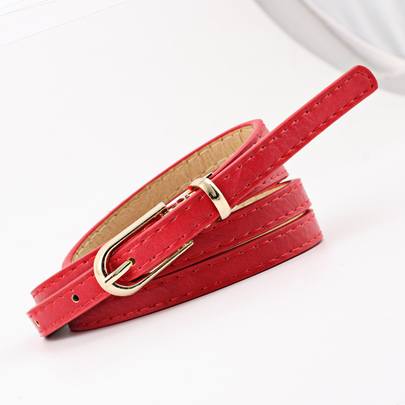 2018 New Cute Simple Ladies Red Black White Yellow Narrow Thin Leather Waist Belts for Women Gold Pin Buckle Trouser Belt Kemer