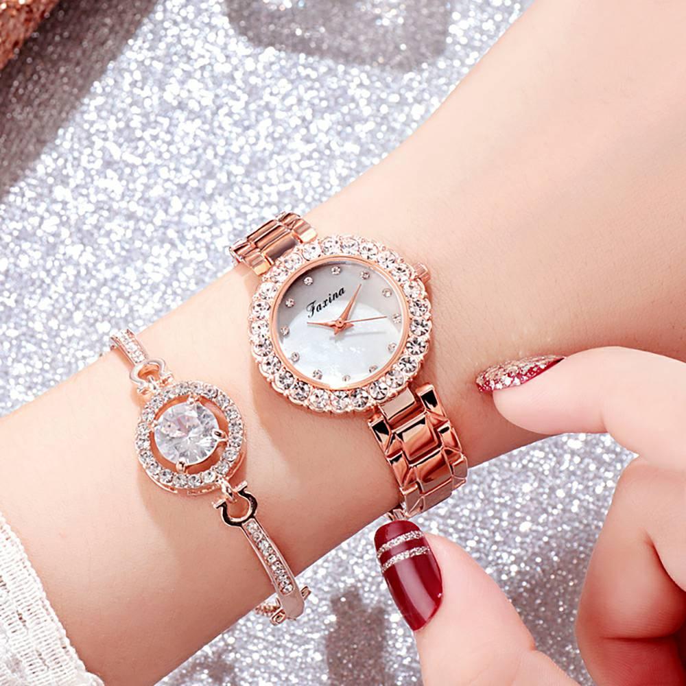 New Ladies Watch Rose Gold Rhinestone Mesh Bracelet Wristwatch Women Fashion Watches Ladies Alloy Analog relojes with Bracelet