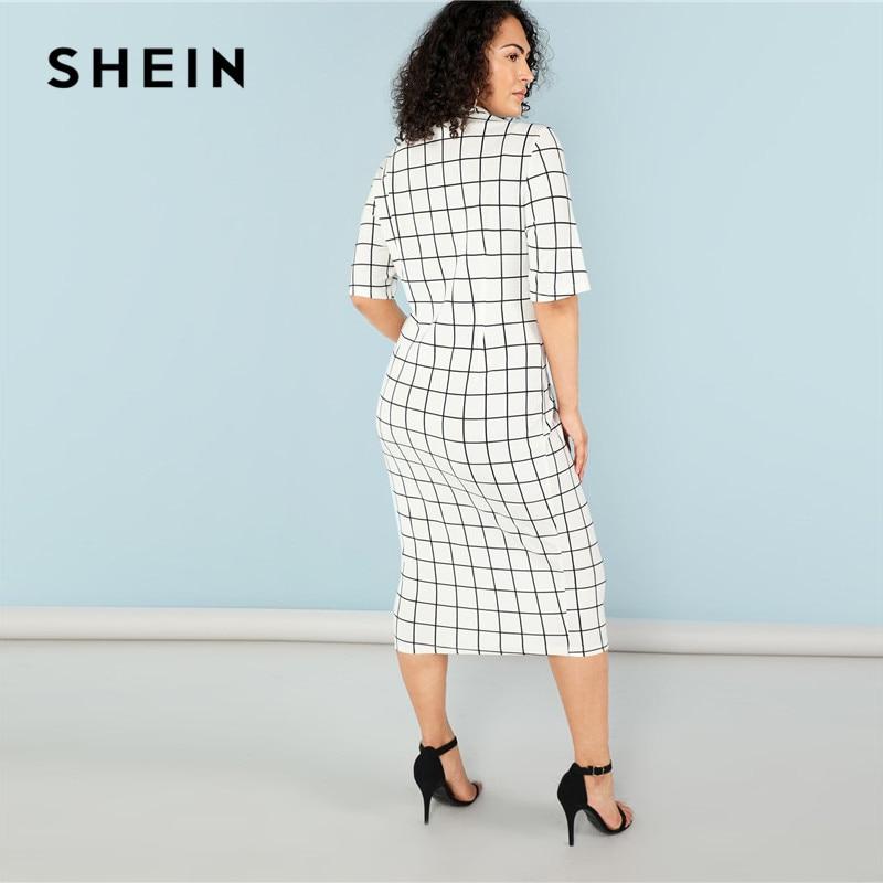 SHEIN Elegant Plaid Bodycon Plus Size Long Pencil Dresses Womens 2018 Office Lady Stand Collar Grid Print Slim Fit Dress 2