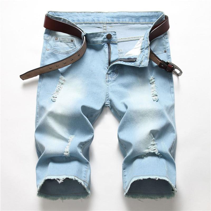 Men's Jeans 2019 New Modis Men's Denim Shorts Mid-rise Straight Stretch Light Blue Jeans More Size 28-40 42