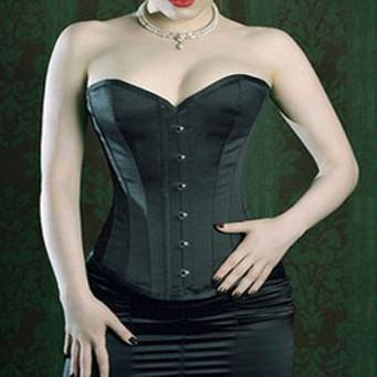 Goth Satén Negro Cintura de Underbust Bustiers Corsés Mujeres Lencería Sexy de Acero Más El Tamaño de Las Fajas Superior