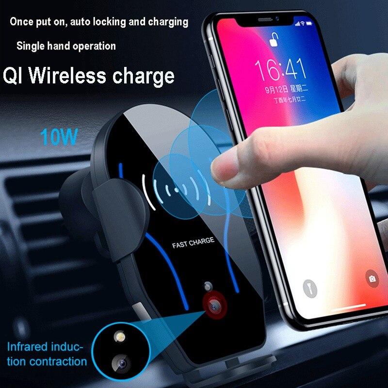 VicTsing Car Mount Holder 10 W Qi Sem Fio do Carregador Rápido Car Mount Sensor Infravermelho Automático de Carregamento Pad para iPhone X 8 Samsung