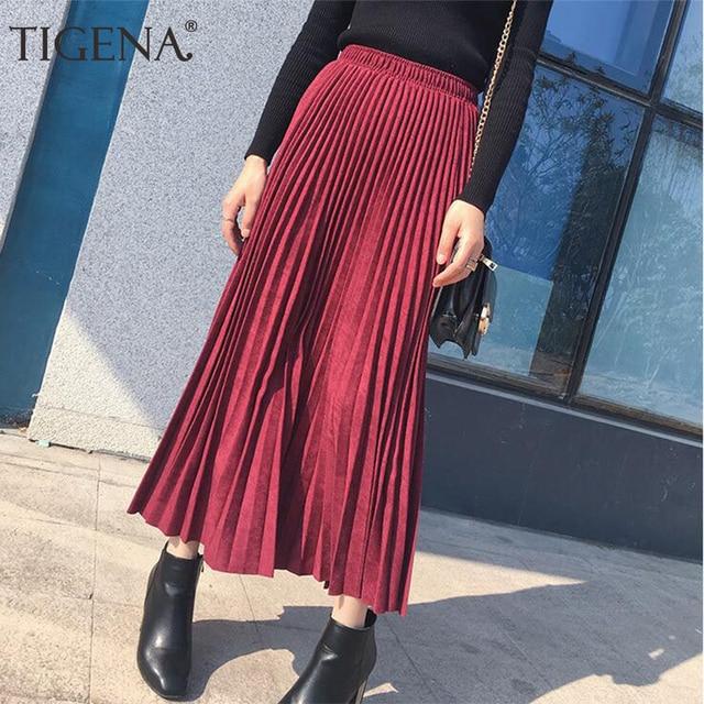 TIGENA Suede Pleated Skirts Women Fashion 2018 Autumn Winter Long Maxi Skirt Female High Waist Elegant Skirt Pink Green Blue