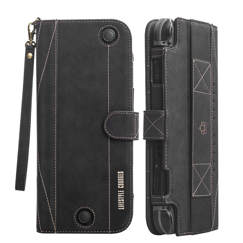 Nintend SWITCH Host Protective Cover Case Multi-function Leather Case for SWITCH Game Handle Split Leather Protective Case