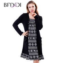634b6ecf0bfc Bfdadi 2016 nuovo autunno inverno modo delle donne allentato casuale  patchwork fiocco di neve modello piccolo balza dress plus .