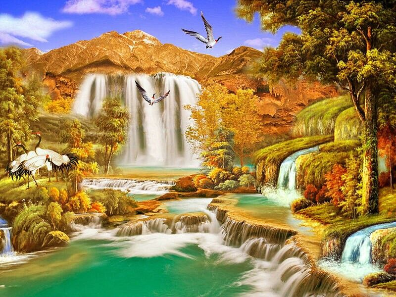 Hand Made Cross Stitch Scenic Waterfall Crystal Mosaic