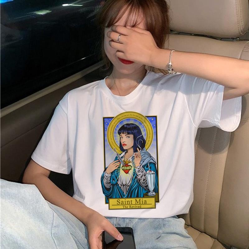 New Pulp Fiction Movie T Shirt Women Harajuku Ullzang 90s Korean T-shirt Aesthetic Funny Print Tshirt Graphic Top Tees Female 16