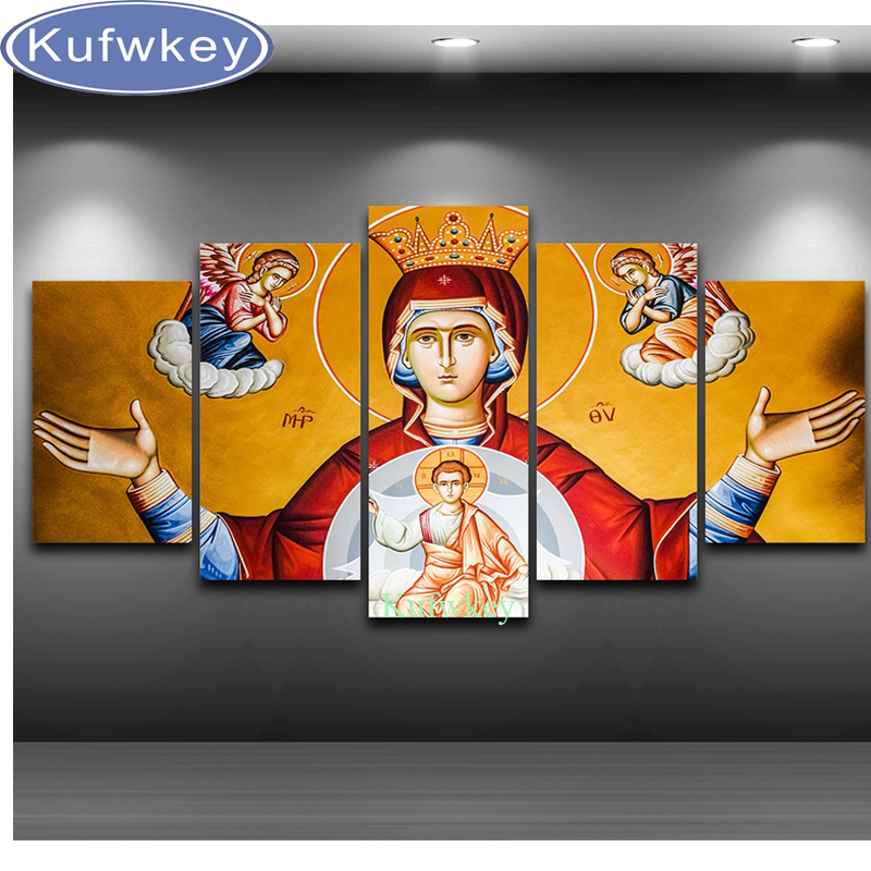 5 pcs set 5D DIY Diamond Painting Religion Virgin and child full Diamond Embroidery Mosaic Cross Stitch home Decor wall <font><b>Sticker</b></font>