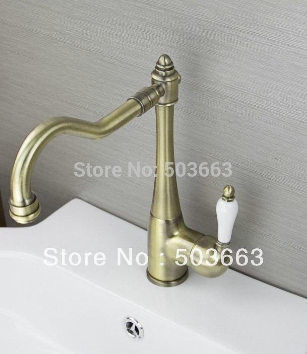 Novel Antique Brass kitchen Swivel Sink Faucet Mixer Taps Vanity Faucet L A37 Mixer Tap Faucet