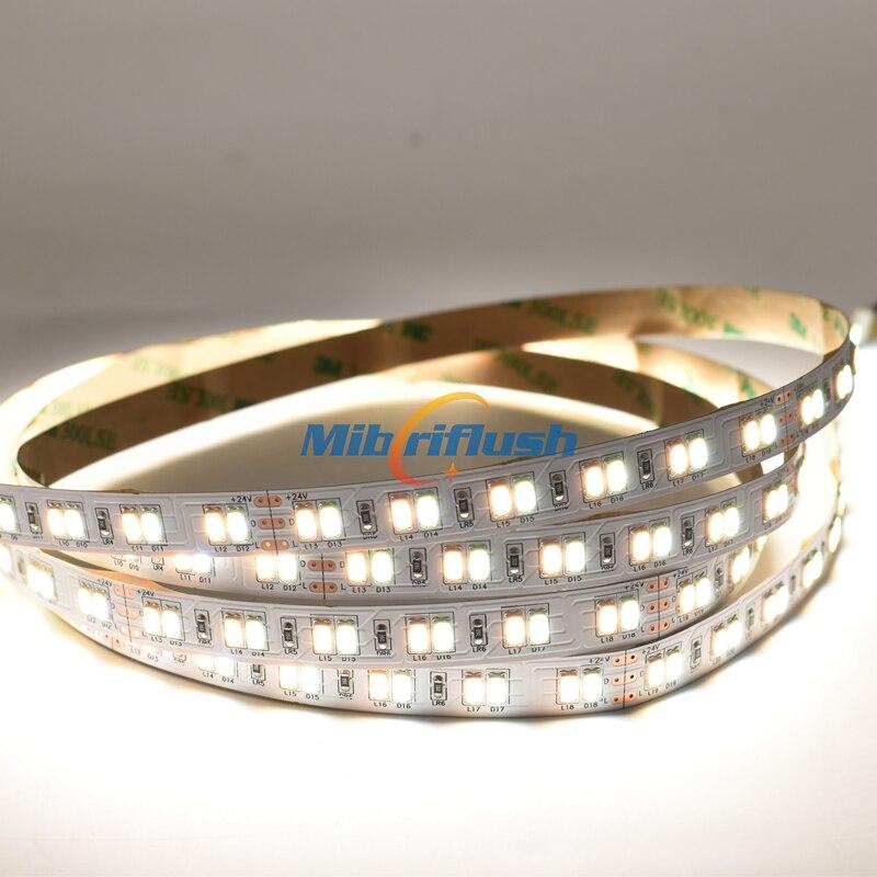 50-55lm/LED 24V 41W/M SMD 5630 LED flexible light 120LEDs/m 5m IP20 Non Waterproof Decor LED lamp Tape lighting CW/WW 2in1
