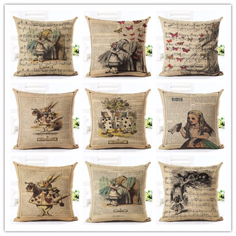 Hot Sälj Högkvalitativ Kreativ Retro Pictorial Soft Pillow Cojines Sittkudde Almofadas Cotton Linen Square