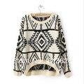 Горячая распродажа женщин старинные асимметричная племенной стиль пуловер топы евро геометрическая печатных трикотаж Sweate
