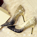 Bling Glitter Women High Heels Shoes 2016 Sexy Fashion Golden Silver Pumps Elegant Pointed Toe Platform Wedding Shoes Woman