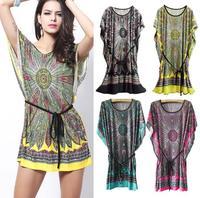 New 2015 Fashion Loose Shirt Women Casual Dress Ice Silk Cotton Short Sleeve Tunics Vintage Bohemian