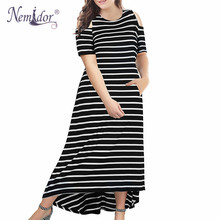 цены на Nemidor Women Vintage Cold Shoulder Casual Short Sleeve Long Dress Plus Size 8XL 9XL High-Low Hem Party Maxi Dress with Pocket  в интернет-магазинах