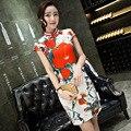 High Quality Chinese Traditional Women's Dress Short Mini Long Cheongsam Silk Qipao Top Flower Clothing Size S M L XL XXL