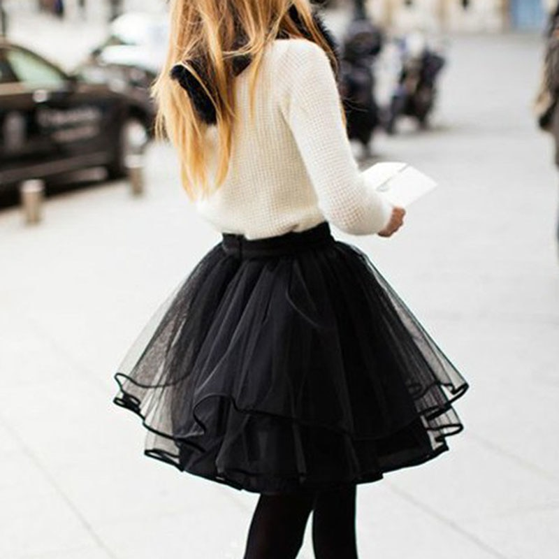 Women Ladies Girls Tulle Tutu Skirts Elegant Ballet Princess Fancy Party Club Mini Skirts Dames Jupe Femme Streetwear