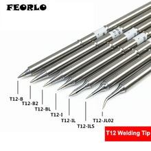 FEORLO 7pcs/lot soldering tips T12 T12-B B2 BL I IL ILS JL02 for HAKKO Solder Iron Tips soldering welding stings free shipping 10pcs t12 b2 t12 d24 t12 c4 ils jl02 ku k bc2 bl bc1 solder iron tips t12 series soldering rework station fx 951