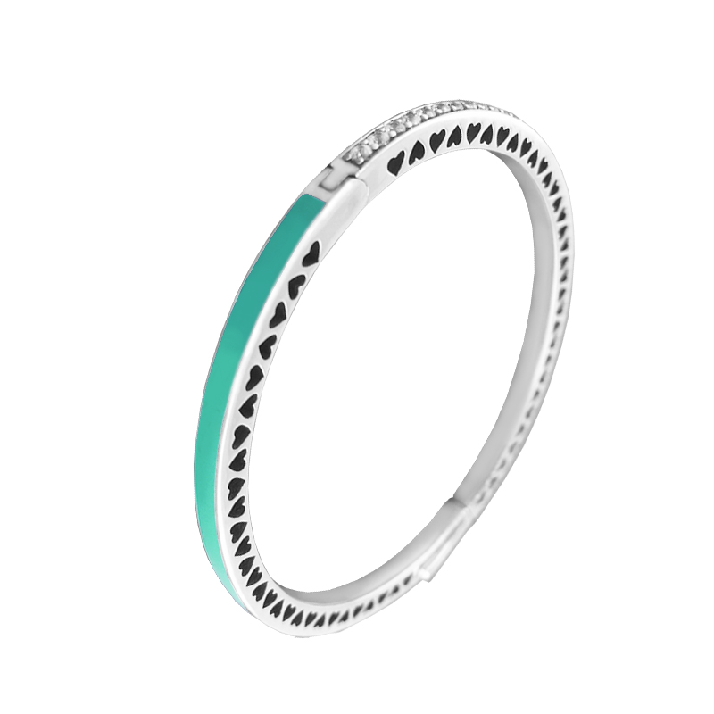1 pièces coeur radieux brillant émail menthe bracelet 100% 925 bijoux en argent Sterling Bracelets en argent Bracelets pour les femmes bijoux à bricoler soi-même