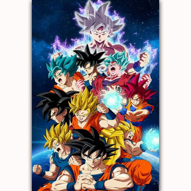 Goku Super All Forms Dragon Ball Japan Anime Cartoon Comic Poster Art Picture Large Silk Canvas Room Wall Printing