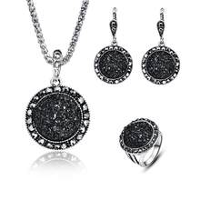 4Pcs Jewelry Women Bohemia Round Party Rhinestone Ring Earrings Necklace Set hot(China)