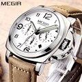 Люксовые часы от бренда MEGIR Топ Элитный бренд кварцевые часы Для мужчин аналоговый хронограф часы Для мужчин s в стиле ретро с кожаным ремешк...